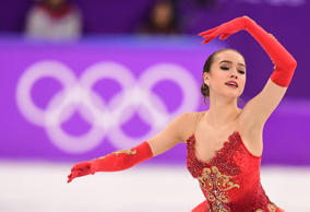 Russia's Alina Zagitova competes in the women's single skating free skating of t...