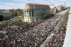 "As seen from the Newseum, people fill Pennsylvania Avenue during the ""March for ..."