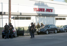 Police respond to a hostage situation at a Trader Joe's store in Los Angeles, Ca...