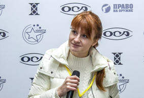 Mariia Butina, leader of a pro-gun organization, speaks on October 8, 2013 durin...