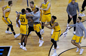 Mar 16, 2018; Charlotte, NC, USA; UMBC Retrievers celebrates beating Virginia Ca...