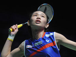 Taipei's Tai Tzu Ying plays a shot during the women's singles semifinal match ag...