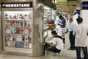 A newsstand at the Jay Street, Metro Station in Brooklyn, New York on July 17, 2...