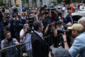 U.S. President Donald Trump's former lawyer, Michael Cohen, leaves the Daniel Pa...
