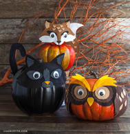 Why not dress your pumpkins up for Halloween, too? Kids will love crafting creat...