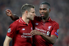 James Milner of Liverpool celebrates scoring their 2nd goal with Daniel Sturridg...
