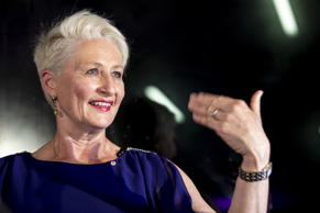 Dr Kerryn Phelps delivers a speech to her team and the media at the North Bondi ...