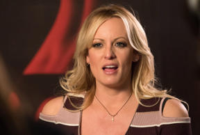 11 October 2018, Berlin: Stormy Daniels, US erotic star, is at the erotic fair V...