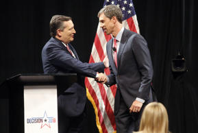 Sen. Ted Cruz shakes hands with Rep. Beto O'Rourke before the start of a debate ...