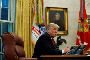 President Donald Trump speaks during an interview with The Associated Press in t...