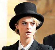 Model Cara Delevingne arrives to attend the wedding of Princess Eugenie to Jack ...