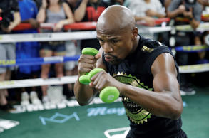 Floyd Mayweather Jr. trains at his gym Thursday, Aug. 10, 2017, in Las Vegas. Ma...