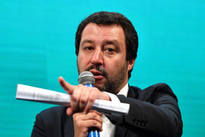 Italy's Interior Minister and deputy PM Matteo Salvini attends a meeting with th...