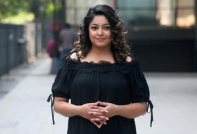 Bollywood actor Tanushree Dutta poses for photographs outside an entertainment c...