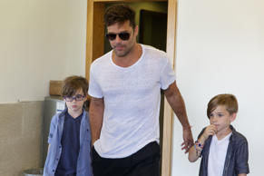 TEL AVIV, ISRAEL - SEPTEMBER 13:  (ISRAEL OUT) Ricky Martin and his kids as they...