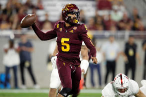 CAPTION: TEMPE, AZ - OCTOBER 18: Manny Wilkins #5 of the Arizona State Sun Devil...
