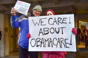 Constituents speak-out and rally supporting the Affordable Care Act, organized b...