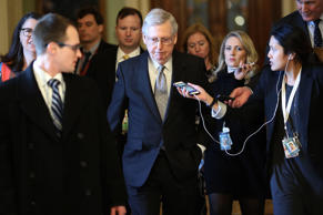 Senate Majority Leader Mitch McConnell (R-KY) speaks after the Republican wee...