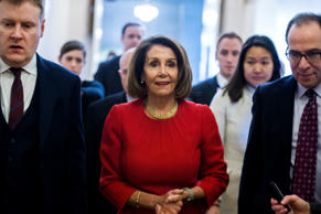 UNITED STATES - JANUARY 23: Speaker Nancy Pelosi, D-Calif.,  leaves a meeting of...