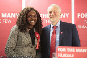 Jeremy Corbyn with Fiona Onasanya in Peterborough during the campaign trail in 2...