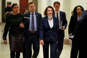 Speaker of the House Nancy Pelosi (D-CA) arrives for a press briefing on the 27t...