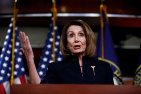 WASHINGTON, Feb. 14, 2019 -- U.S. House Speaker Nancy Pelosi speaks during a pre...