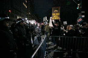A mass impromptu demonstration erupts at Columbus Circle in New York City on Feb...