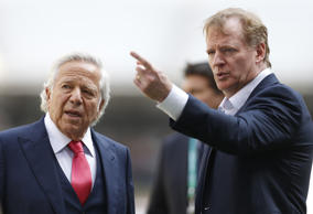 Roger Goodell, left, and Robert K. Kraft have long had a tenuous relationship.