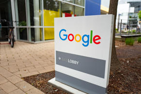 Google signage is seen at the Google headquarters in the Manhattan borough of Ne...