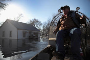Flooding in Hamburg, Iowa, on Monday.
