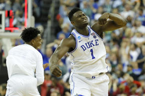 COLUMBIA, SOUTH CAROLINA - MARCH 24: Zion Williamson #1 of the Duke Blue Devils ...