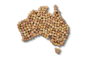 Wine-producing countries - maps from wine corks. Map of Australia on white backg...