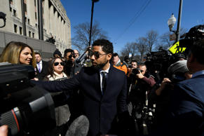 Actor Jussie Smollett exits courtroom 101 into the hallway at the Leighton Crimi...