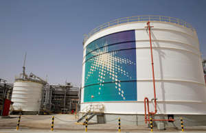 An Aramco oil tank is seen at the Production facility at Saudi Aramco's Shaybah ...