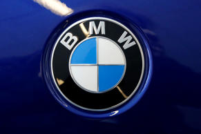 This is a BMW logo on a BMW automobile on display at the Pittsburgh Auto Show Th...