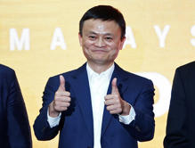 Jack Ma, founder of Chinese e-commerce giant Alibaba, gestures during the launch...