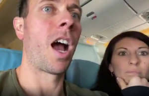 Flames shoot from plane engine as dad films daughter's reaction to takeoff