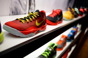 Nike shoes on display at a Foot Locker Inc. store inside the South Park Mall in ...