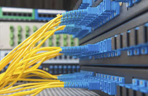 Fiber optical network cables and hub in datacenter