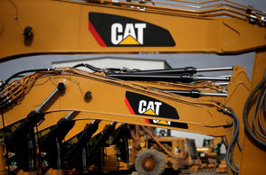 The CAT logo is displayed on Caterpillar construction equipment at Peterson Trac...