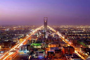 A view of Riyadh, the capital of Saudi Arabia, at dusk.