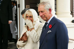 Camilla, Duchess of Cornwall and Prince Charles, Prince of Wales, look on during...
