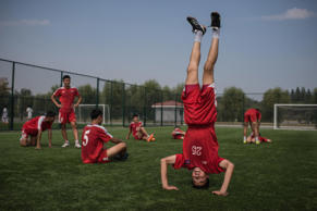 Students of the Pyongyang International Football School take part in an under-14...