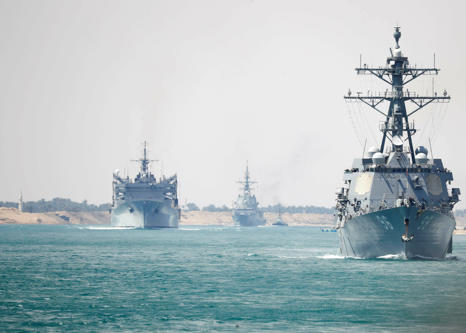 In this Thursday, May 9, 2019 photo released by the U.S. Navy, the Abraham Linco...