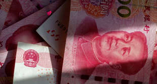 TIANJIN, CHINA - 2018/01/25: Banknotes of  RMB are arranged for photography.  Re...