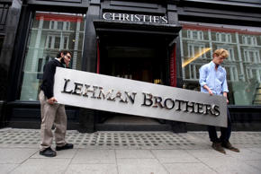 A man speaks on the phone outside of the Lehman Brothers headquarters in New Yor...