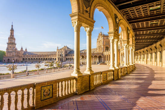 Seville's semicircular, colonnaded Plaza de Espana has appeared in several films...