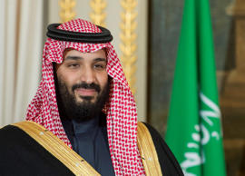 Crown Prince of Saudi Arabia Mohammed bin Salman Al Saud and French President Em...