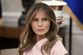 First lady Melania Trump attends a meeting with King Abdullah II and Queen Rania...