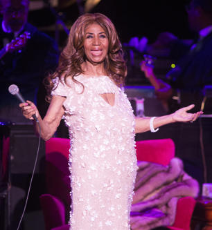 Aretha Franklin performs in concert at The Mann Center for the Performing Arts o...